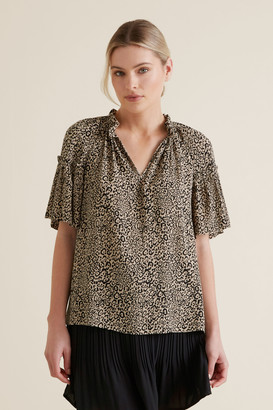 Seed Heritage Ocelot Gathered Blouse