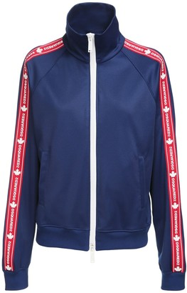 DSQUARED2 Logo Band Cotton Blend Zip Sweatshirt