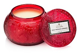 Voluspa Japonica Goji Tarocco Orange Embossed Glass Chawan Candle