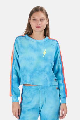 Aviator Nation Tie Dye Blue/Neon Rainbow Bolt Crop Sweatshirt