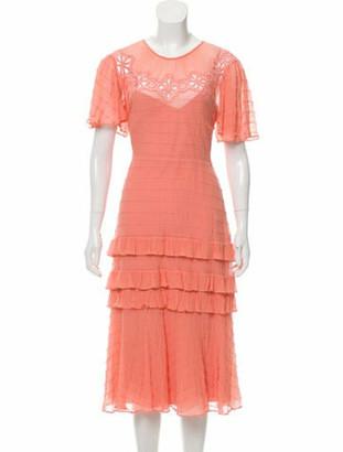 Rebecca Taylor Short Sleeve Midi Dress w/ Tags Coral