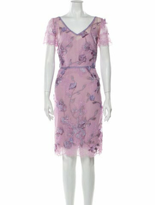 Marchesa Notte Lace Pattern Knee-Length Dress Pink