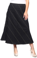 Be Girl Black Stripe Jean Maxi Skirt - Plus
