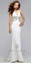 Faviana Sequined Criss Cross Back Prom Dress