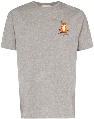 MAISON KITSUNÉ Lotus Fox embroidered-motif T-shirt
