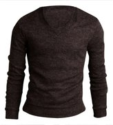 SODIAL(R) Men Casual Slim Fit V-neck Knitted Cardigan Pullover Jumper Sweater Tops Black