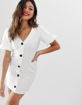 Asos Design DESIGN seamed mini dress with puff sleeves and contrast buttons