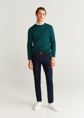 MANGO MAN - 100% merino wool washable sweater dark green - S - Men