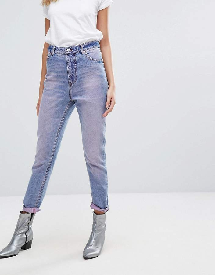 Cheap Monday High Rise Mom Jean in Pink Wash