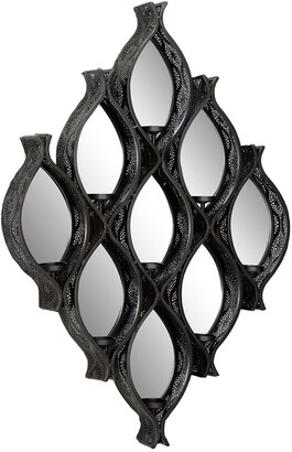 Uma Enterprises Eclectic Black Diamond Mesh Metal Wall Sconce Candle Holder With Mirrors