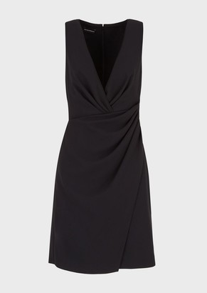 Emporio Armani Tube Dress In Techno Cady Crepe With Draping