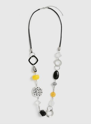 Dorothy Perkins Yellow Black and Silver Resin Necklace