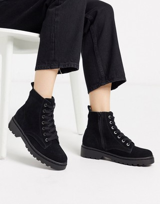 Topshop lace up ankle boots in black