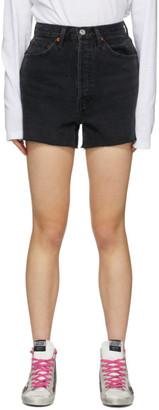 RE/DONE Black Denim 50s Cut-Off Shorts