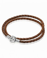 Pandora Bracelet - Brown Leather Double Wrap with Sterling Silver Clasp, Moments Collection