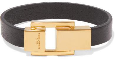 Saint Laurent Leather And Gold-tone Bracelet - Black