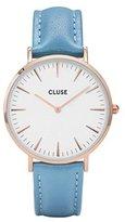 Cluse Women's La Boheme 38mm Blue Leather Band Metal Case Quartz Watch Cl18033