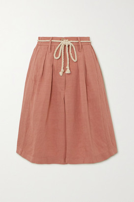 Forte Forte Belted Pleated Canvas Shorts - Blush