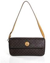 Eiffel Dark Brown Light Brown Leather Monogram Small Baguette Handbag