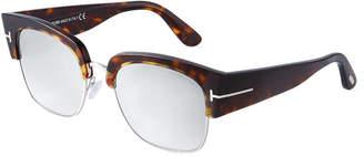 Tom Ford Acetate/Metal Brow-Line Sunglasses w/ Mirrored Lenses
