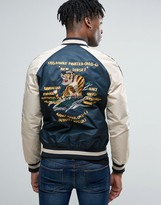 Schott Suka Souvenir Bomber Jacket Back Embroidery In Navy/off White