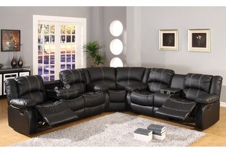 "Red Barrel Studio Hattie 115"" Right Hand Facing Sectional Fabric: Black Faux leather"