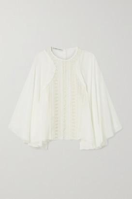 RUE MARISCAL Net Sustain Silk-chiffon And Crocheted Cotton Blouse - White