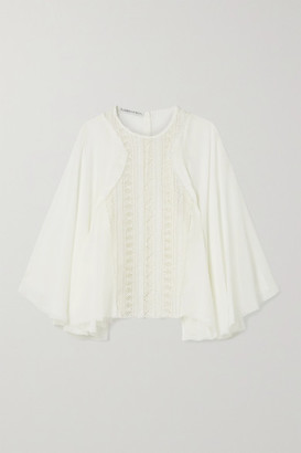 RUE MARISCAL Silk-chiffon And Crocheted Cotton Blouse - White