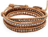 Chan Luu Women's Titanium Pyrite, Rose Gold Hermatine, Silver Martite, Leather & Sterling Silver Bracelet