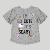 Hello Kitty Toddler Girls' Short Sleeve Halloween T-Shirt - Heather Gray