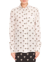 Victoria Beckham Floral-Print Silk Blouse, White/Black/Orange
