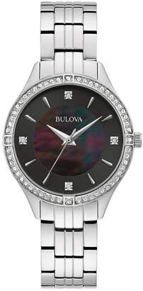 Bulova Women Crystal Stainless Steel Bracelet Watch 32mm