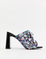 Asos Design DESIGN Harlequin embellished Block Heeled Sandals