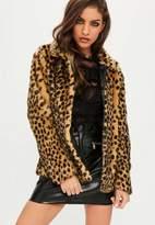 Missguided Leopard Print Peter Pan Collar Faux Fur Coat, Multi