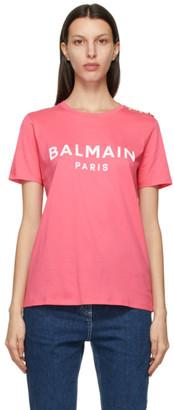 Balmain Pink and White Button Logo T-Shirt