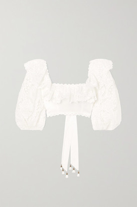 Zimmermann Lulu Cropped Ruffled Broderie Anglaise Cotton Top - Ivory