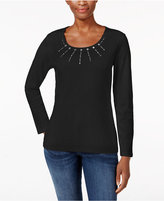 Karen Scott Studded Scoop-Neck Top, Only at Macy's