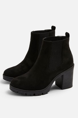 Topshop Womens **Wide Fit Byron Black Unit Boots - Black