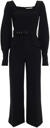 Emilia Wickstead Patrice Belted Textured Crepe Jumpsuit