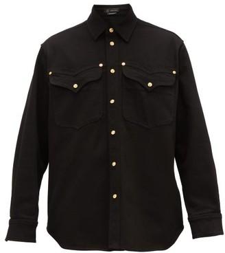 Versace Logo-debossed Buttons Denim Shirt - Black