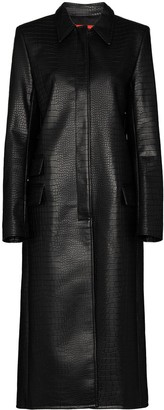 Commission Crocodile-Effect Faux Leather Coat