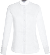 Martin Grant Linen Silk White Collarless Shirt