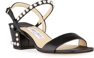 Jimmy Choo Aadra Pearly Stud Ankle-Strap Sandals