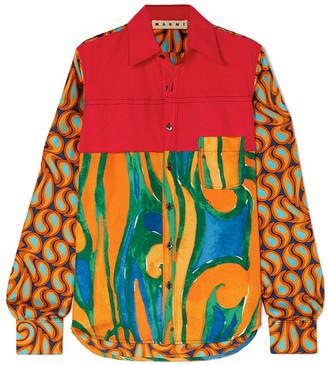 Marni Cotton-poplin And Printed Silk-twill Shirt
