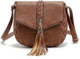 Donalworld Women Retro Semicircle Tassel Cover Shoulder Bag