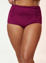 Evans Berry Red Ruched High Waisted Bikini Briefs