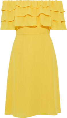 Mikael Aghal Off-the-shoulder Tiered Crepe Dress