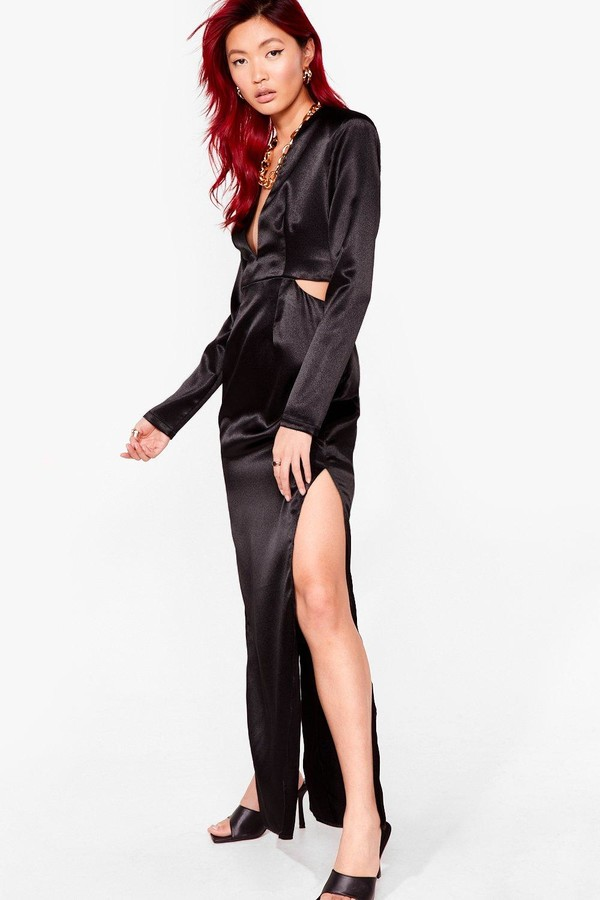 Thumbnail for your product : Nasty Gal Womens Cut Out V Neck Satin Maxi Dress - Black - 6