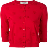 Valentino floral appliqué cardigan - women - Silk/Polyester/Spandex/Elastane/Viscose - S