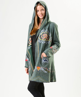Paparazzi Gray Embroidered Open-Hooded Cardigan